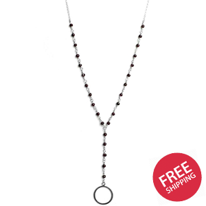 Garnet Chain Drop Circle Pendant Sterling Silver Necklace