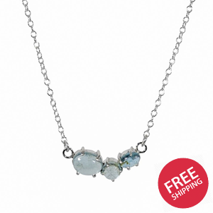 Aquamarine Claw Cluster Sterling Silver Necklace