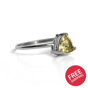 Lemon Topaz Trillion Solitaire Sterling Silver Ring