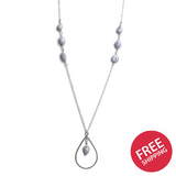 Blue Lace Agate Teardrop Pendant Sterling Silver Necklace