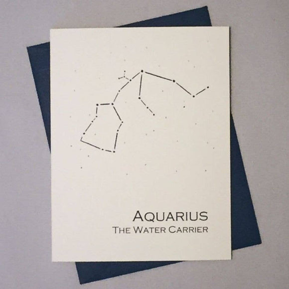 Aquarius Constellation Zodiac Sign Birthday Card