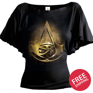 ORIGINS LOGO - Assassins Creed Boat Neck Bat Sleeve Top