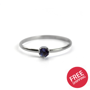 Dainty Iolite Solitaire Sterling Silver Ring