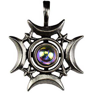 Crescents Rising Celestial Amulet Necklace - Wiccan Place