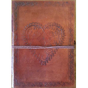 Heart leather blank book w/cord 5