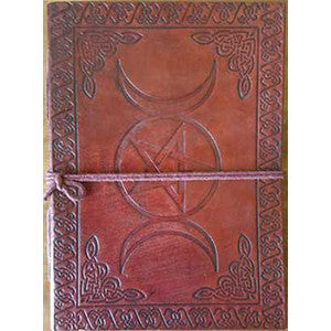 Triple Moon Pentagram leather blank book w/cord 5