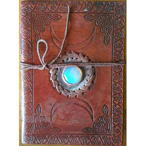 "Triple Moon w/ Stone Embossed blank leather journal w/ cord 5"" x 7"" - Wiccan Place"
