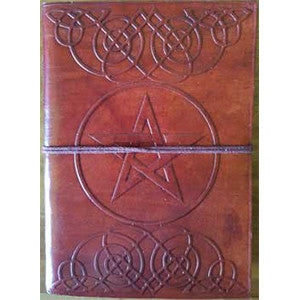 Pentagram leather blank book w/cord 5