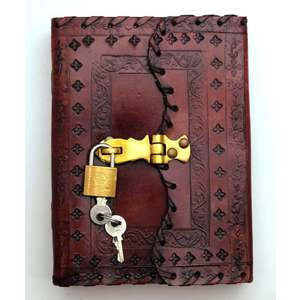 Embossed Leather Blank Book w/Key - Wiccan Place