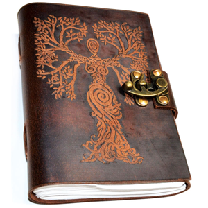 Tree of Life Woman leather blank book w/ latch