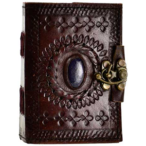Stone Eye leather blank book w/ latch - Wiccan Place