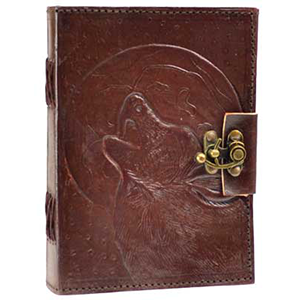 Wolf Moon leather blank book w/ latch - Wiccan Place