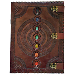 7 Stone leather blank book w/ 3 latches - Wiccan Place