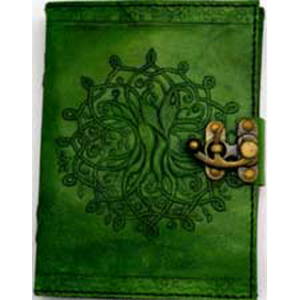 Green Tree of Life Leather Blank Journal w/ Latch 5