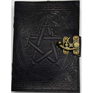 "Black Pentagram Leather Journal w/Latch 5"" x 7"""