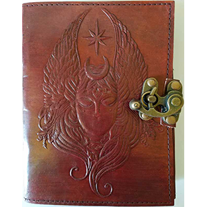 Moon Goddess leather blank book w/ latch - Wiccan Place