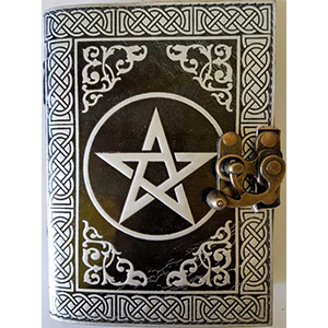 Black/Silver Pentagram leather blank book w/ latch - Wiccan Place