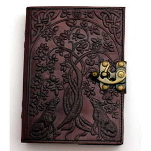 Wolf & Tree of Life Leather Blank Book w/Latch - Wiccan Place