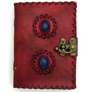 2 Lapis Stones leather blank book w/ latch - Wiccan Place