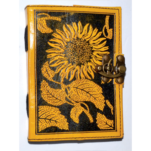 Sunflower leather blank book w/ latch - Wiccan Place