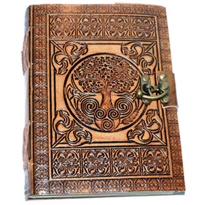 "5"" x 7"" Tree of Life Embossed leather w/ cord"