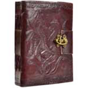 Double Dragon leather blank book w/ latch - Wiccan Place