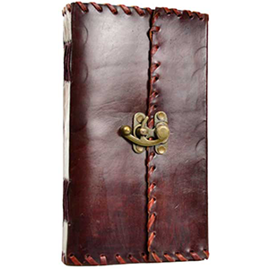 "1842 Poetry Leather Blank Book w/ Latch 5 1/2"" x 9"""