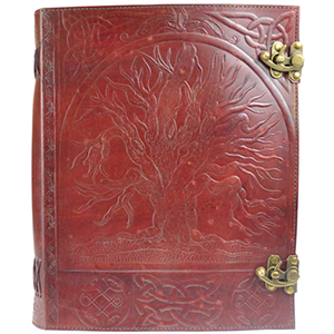 Tree leather blank book w/ latch 10