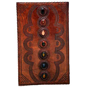 7 Chakra stones leather blank book - Wiccan Place