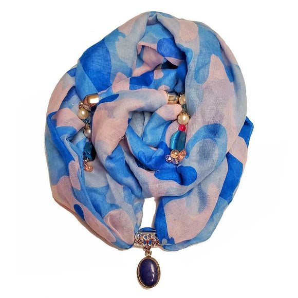 Blue Camouflage Cotton Cover Up Pendant Scarf