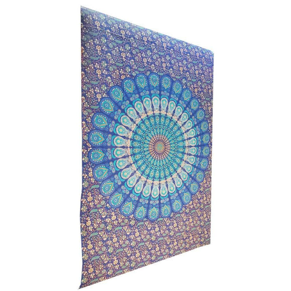 Blue Henna Art Peacock Mandala Tapestry
