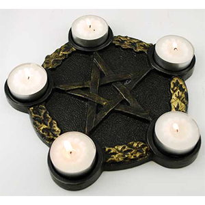Pentagram Candle Holder altar plate - Wiccan Place