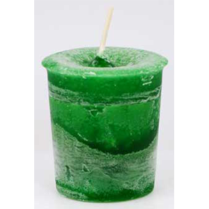 Money Herbal votive candle - green - Wiccan Place