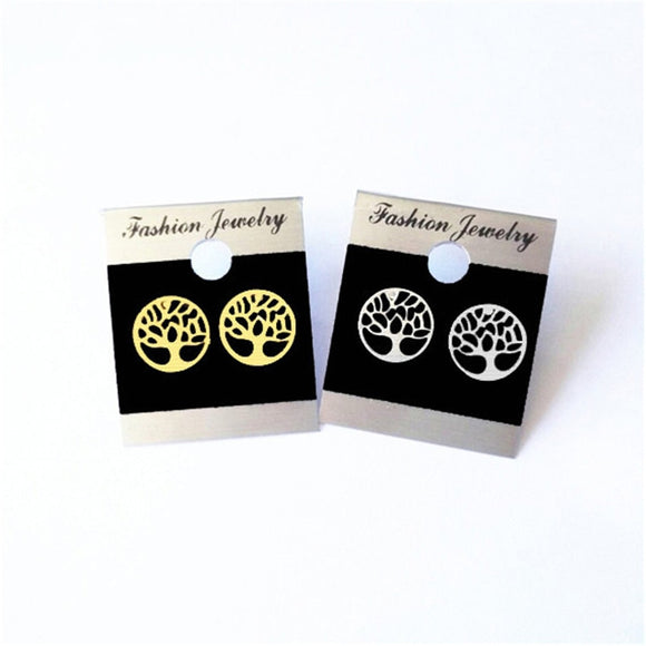 Classic Tree Of Life Earrings Studs, Stainless Steel