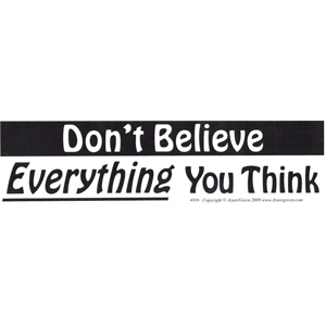 Don't Believe Everything You Think bumper sticker - Wiccan Place