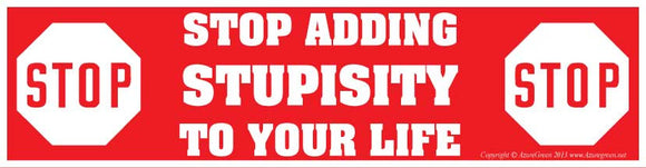 Stop Adding Stupisity Bumper Sticker - Wiccan Place