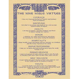 Nine Noble Virtues poster - Wiccan Place