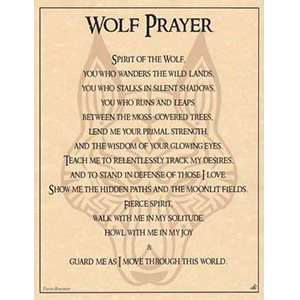 Wolf Prayer poster - Wiccan Place