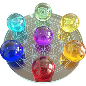 7 Chakra Flower of Life set gazing balls 55mm - Wiccan Place