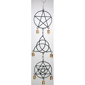 "Pentagram, Triquetra, Solomon's Seal wind chime 5"" - Wiccan Place"