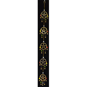 "Long Pentagram wind chime 32"" - Wiccan Place"