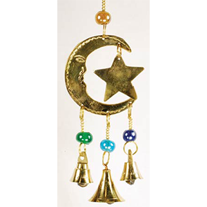 Three Bell Star and Moon wind chime - Wiccan Place