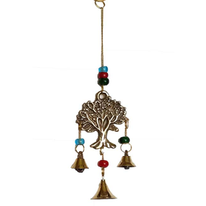 "3 Tree of Life brass wind chime 9"" - Wiccan Place"