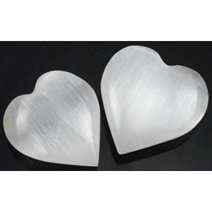 "White Selenite heart 1 1/4"" - 2"" - Wiccan Place"