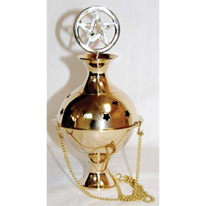 Pentagram Crowned hanging brass censer - Wiccan Place