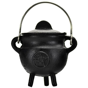 Pentagram Cast Iron Cauldron w/ Lid 2 3/4