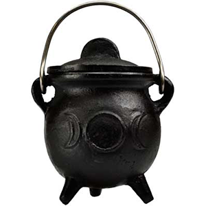 Triple Moon cast iron cauldron w/ lid 3
