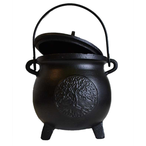 Tree of Life cast iron cauldron w/ lid 6