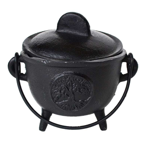 Cast iron cauldron w/ lid Tree of Life 5