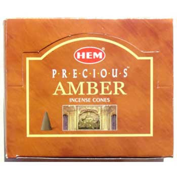 Amber HEM Incense Cones 10 pack - Wiccan Place